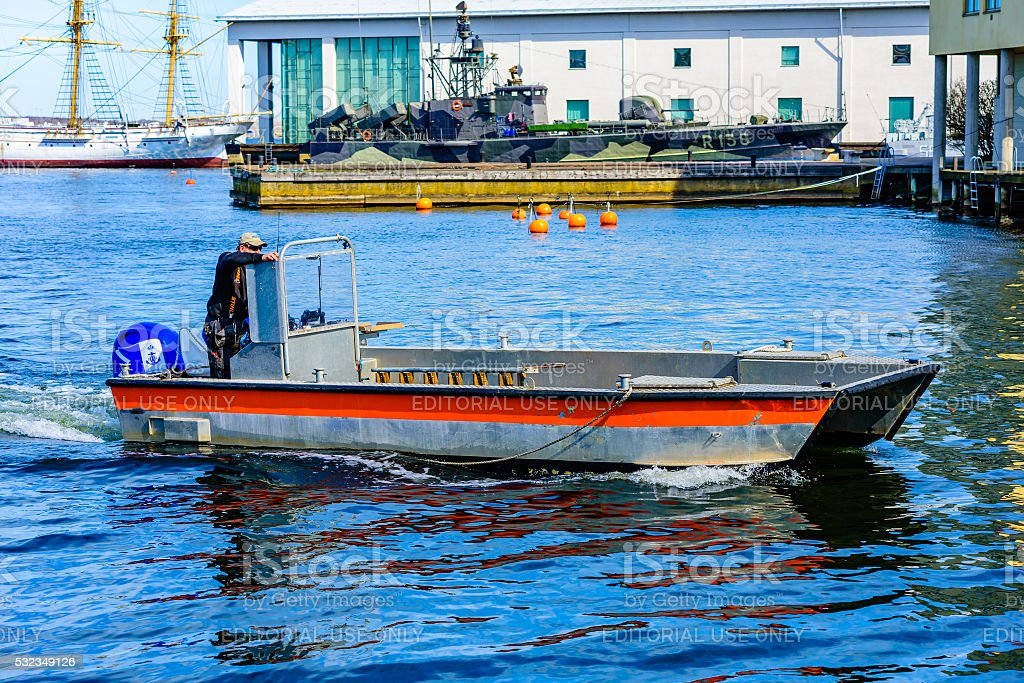 Open motorboat stock photo