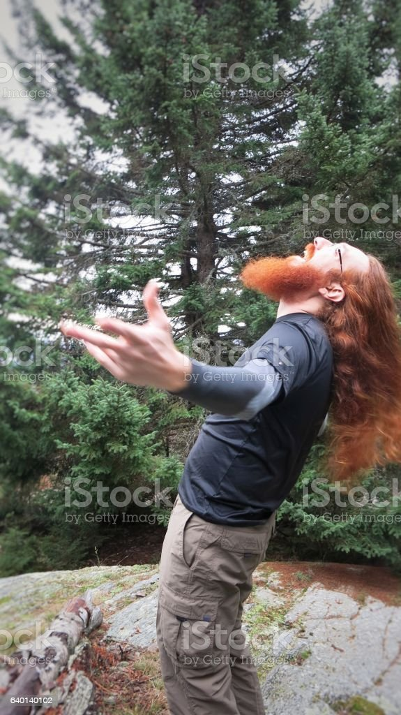 Open Mouth Redhead Howling Praying Screaming Heavy Metal Bearded Nature stock photo