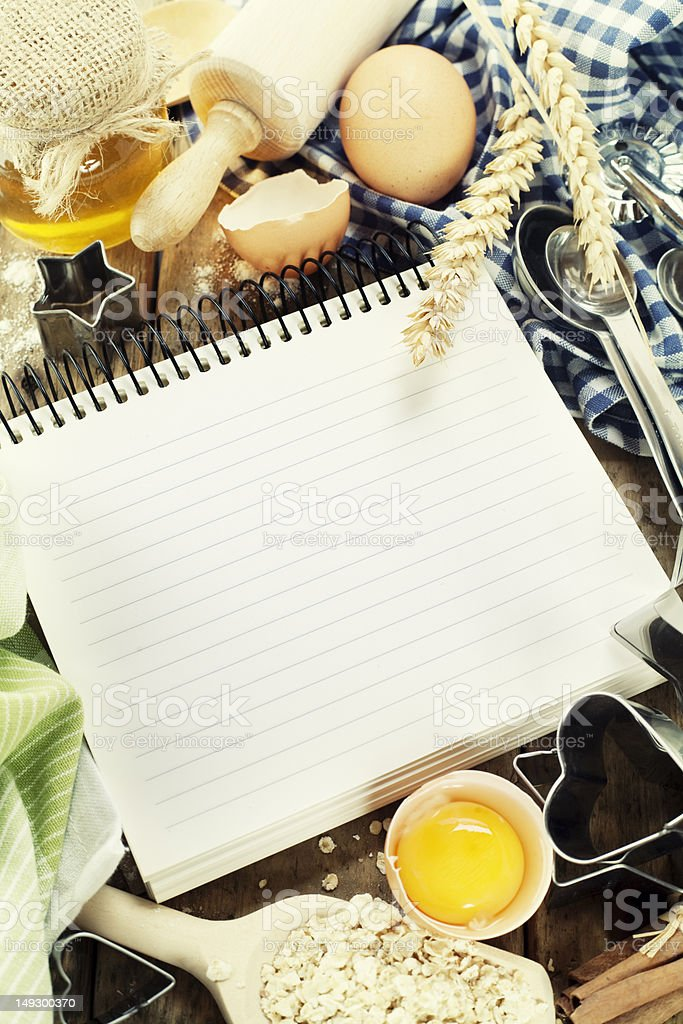 Open notebook and fresh ingredients royalty-free stock photo