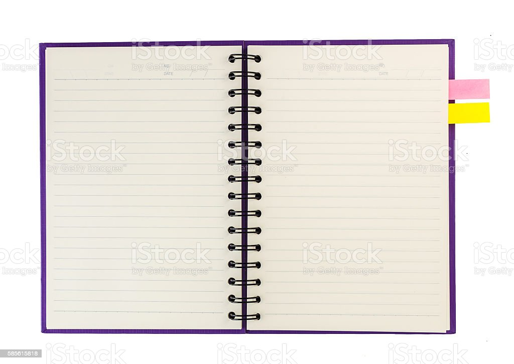 Open notebook  and notpaper isolated on white stock photo