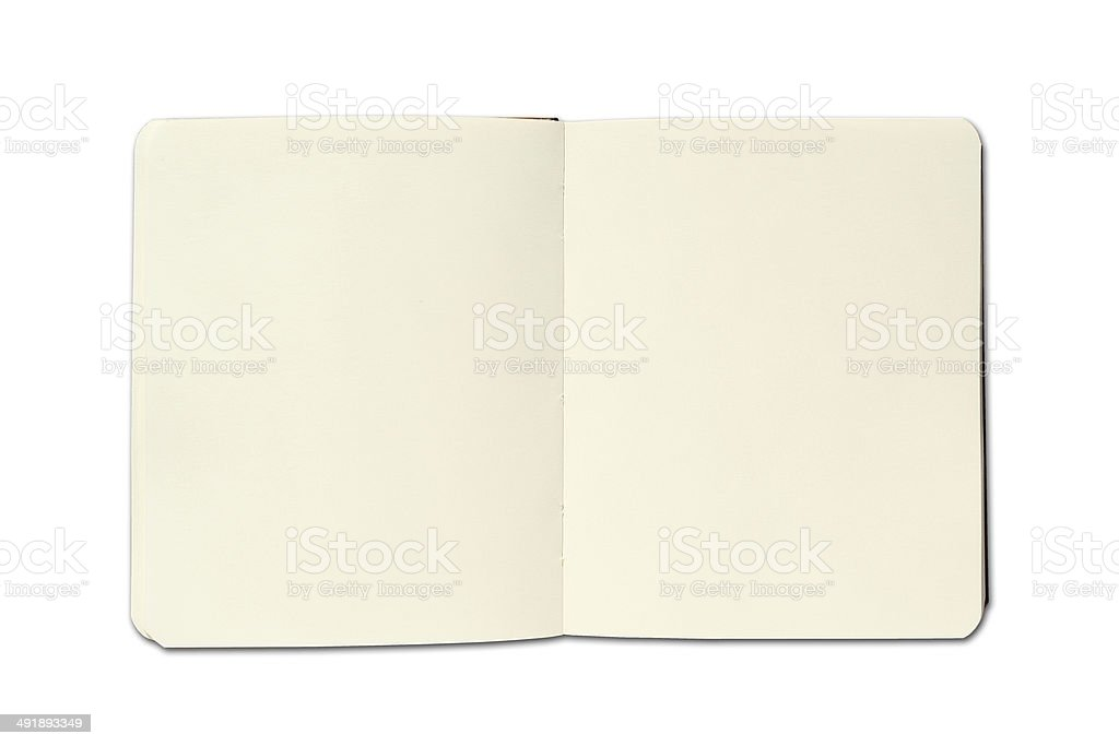 Open notebook on white background stock photo