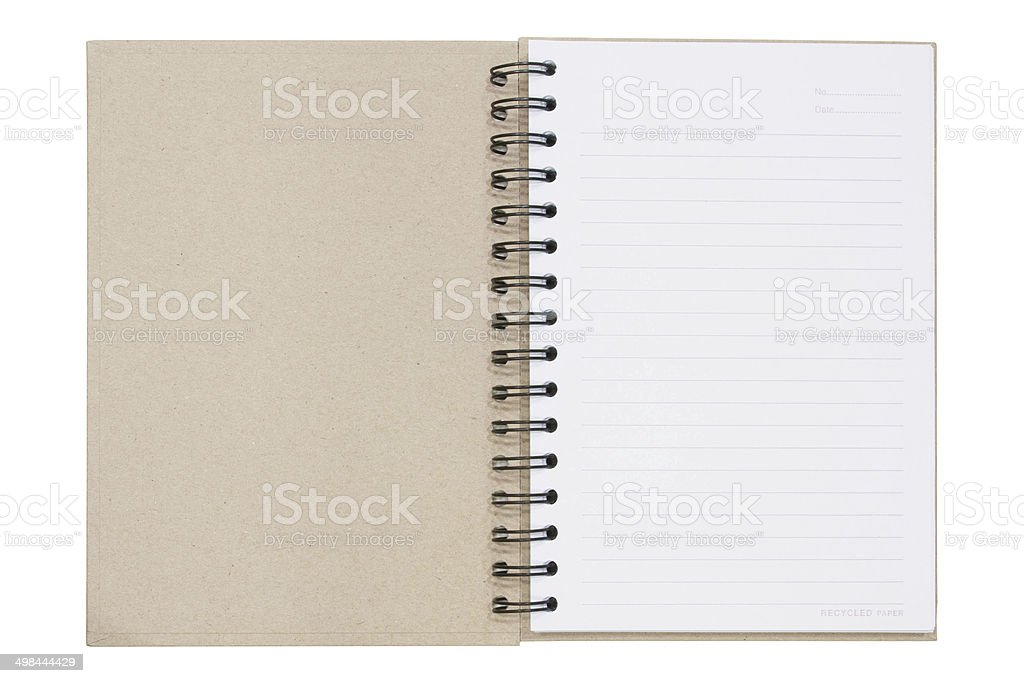 Open notebook, recycled paper stock photo
