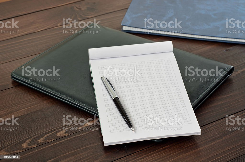 Open notebook with blank page stock photo