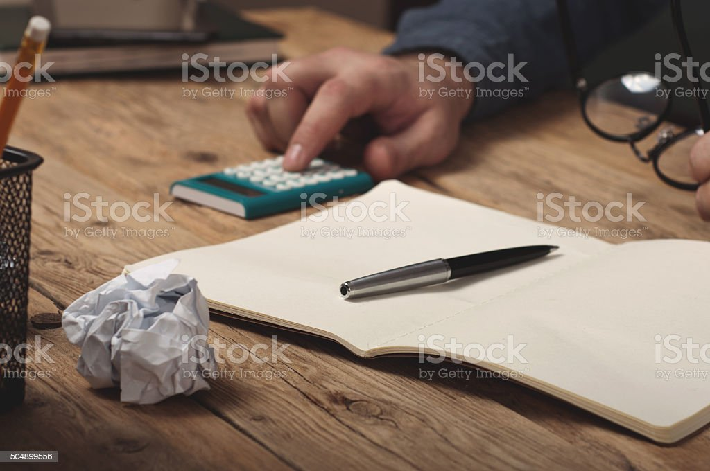 Open notebook with pen stock photo