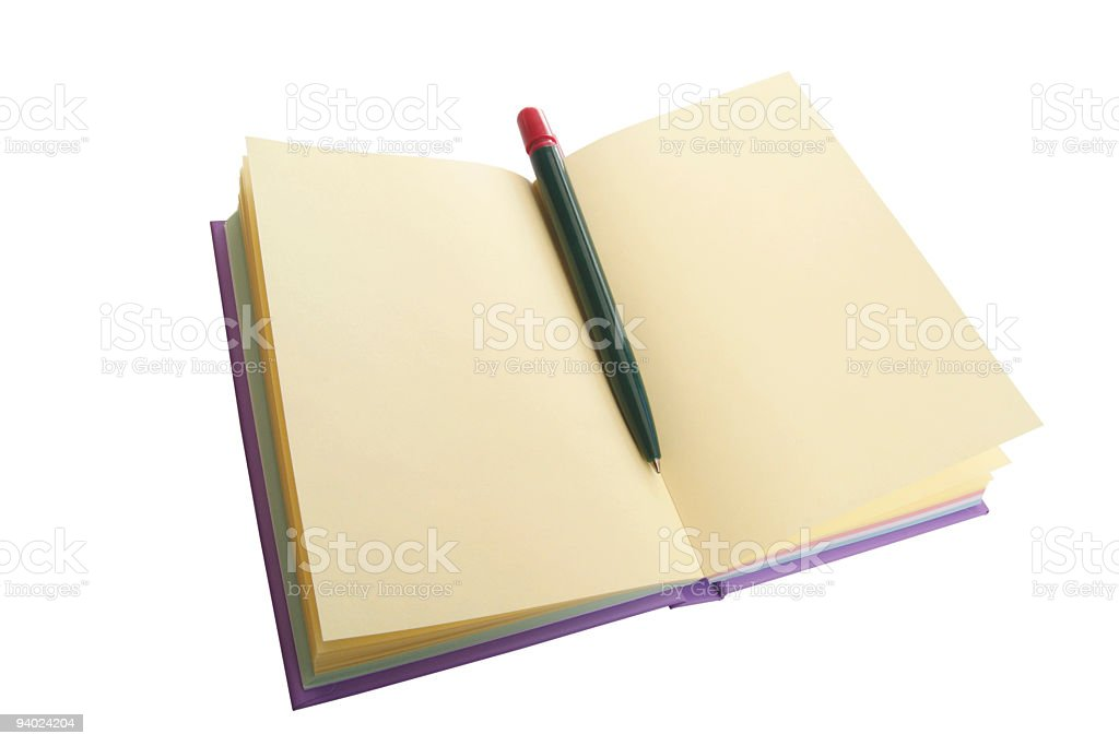 Open notebook with pen royalty-free stock photo
