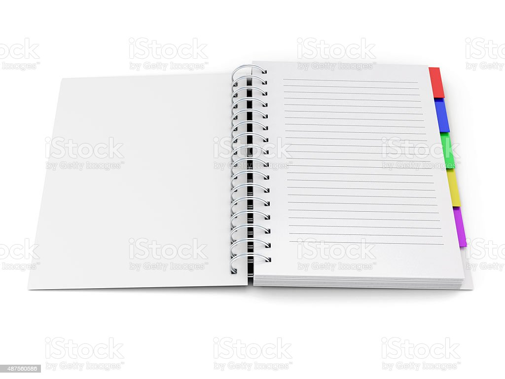 Open notebook with tabs on the spring stock photo