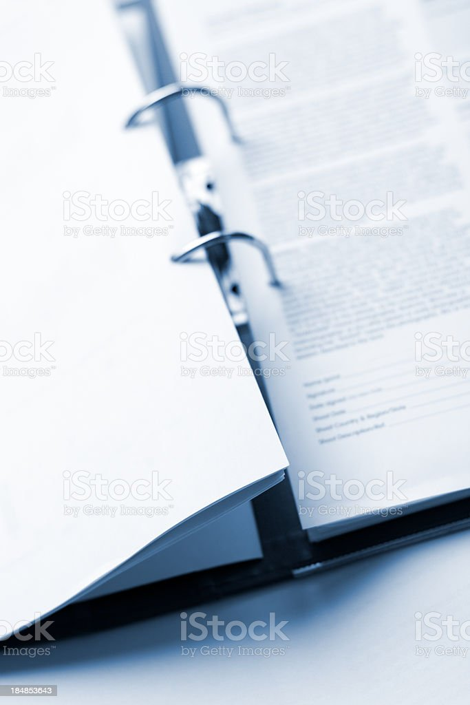 Open Office files folder close up on mechanics and document stock photo
