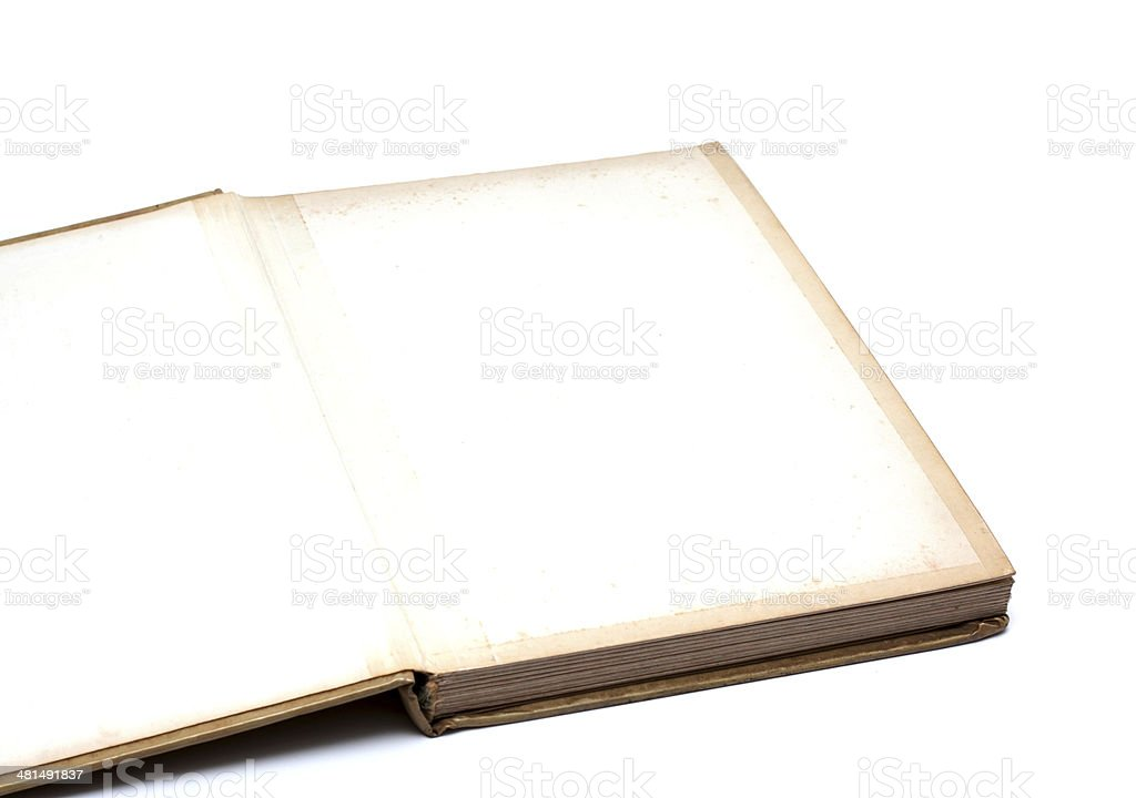 Open old blank book isolated on white background royalty-free stock photo