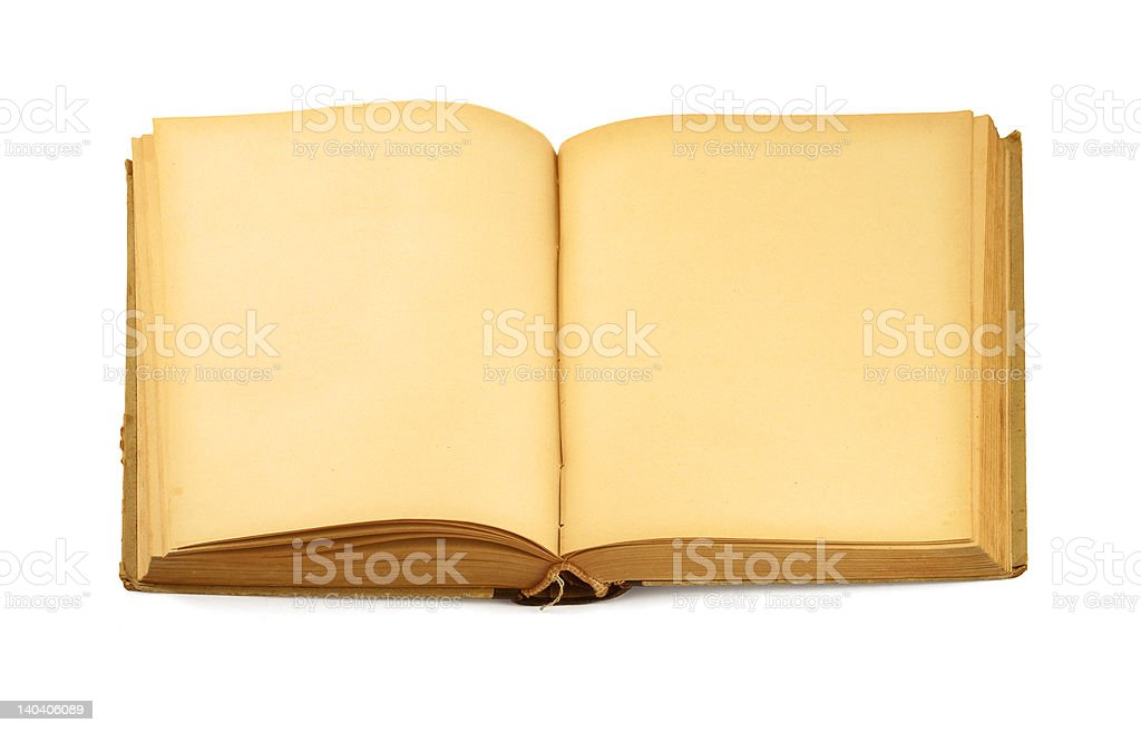 open old blank book on white #2 stock photo