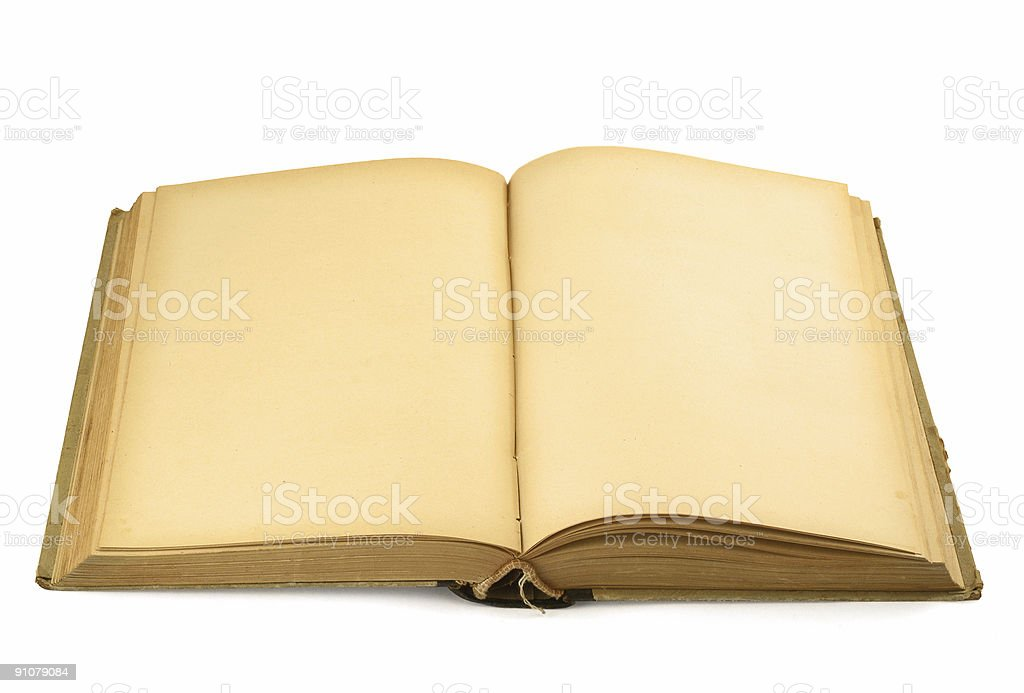open old blank book on white stock photo