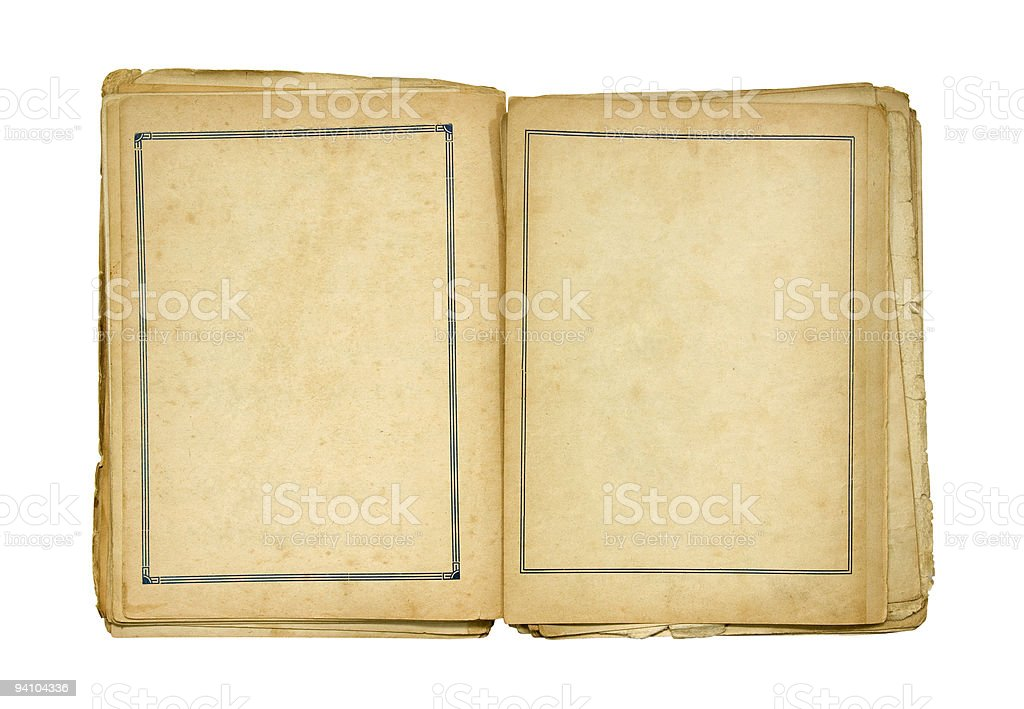Open old blank book with clipping path royalty-free stock photo