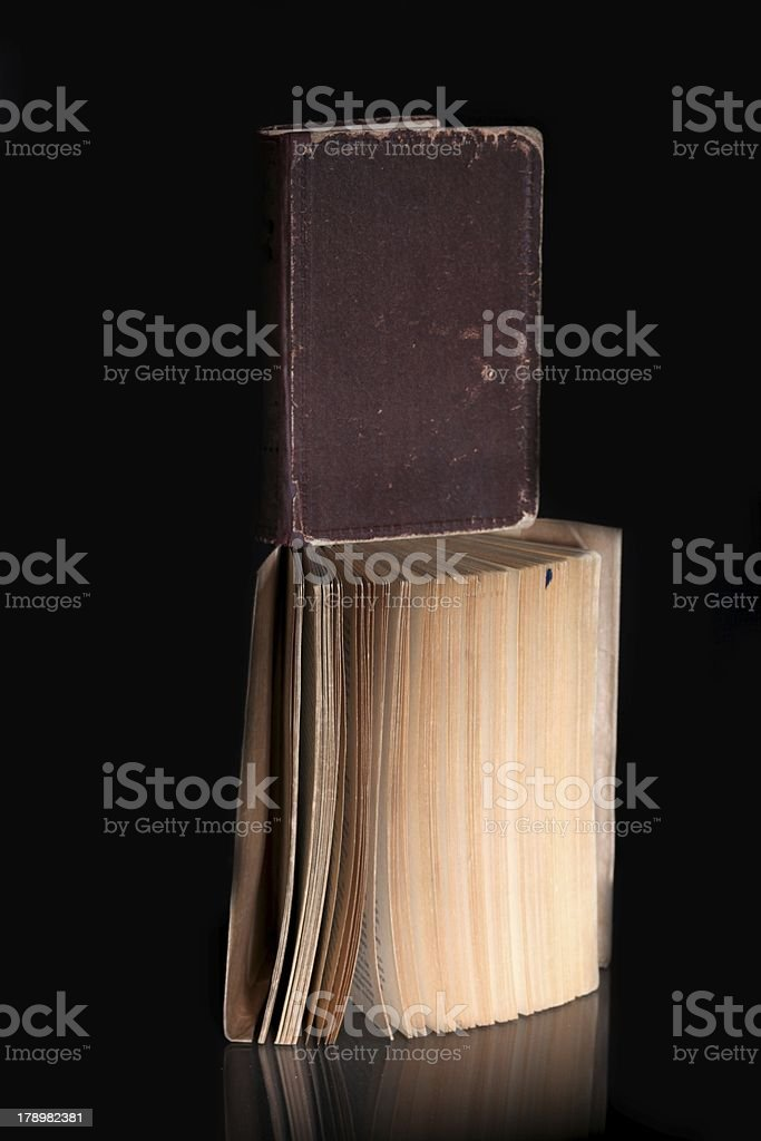 Open old book and cover, vintage objects royalty-free stock photo