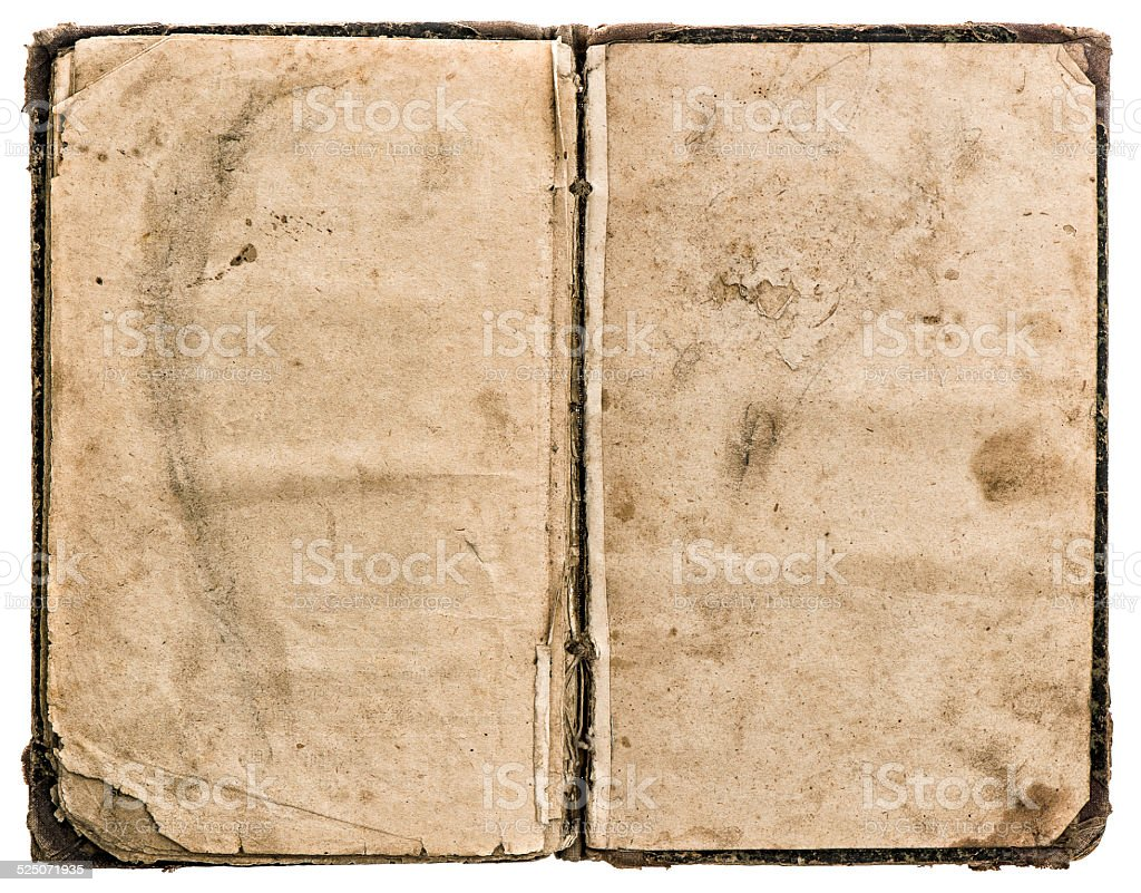 open old book isolated on white. grungy worn paper texture stock photo