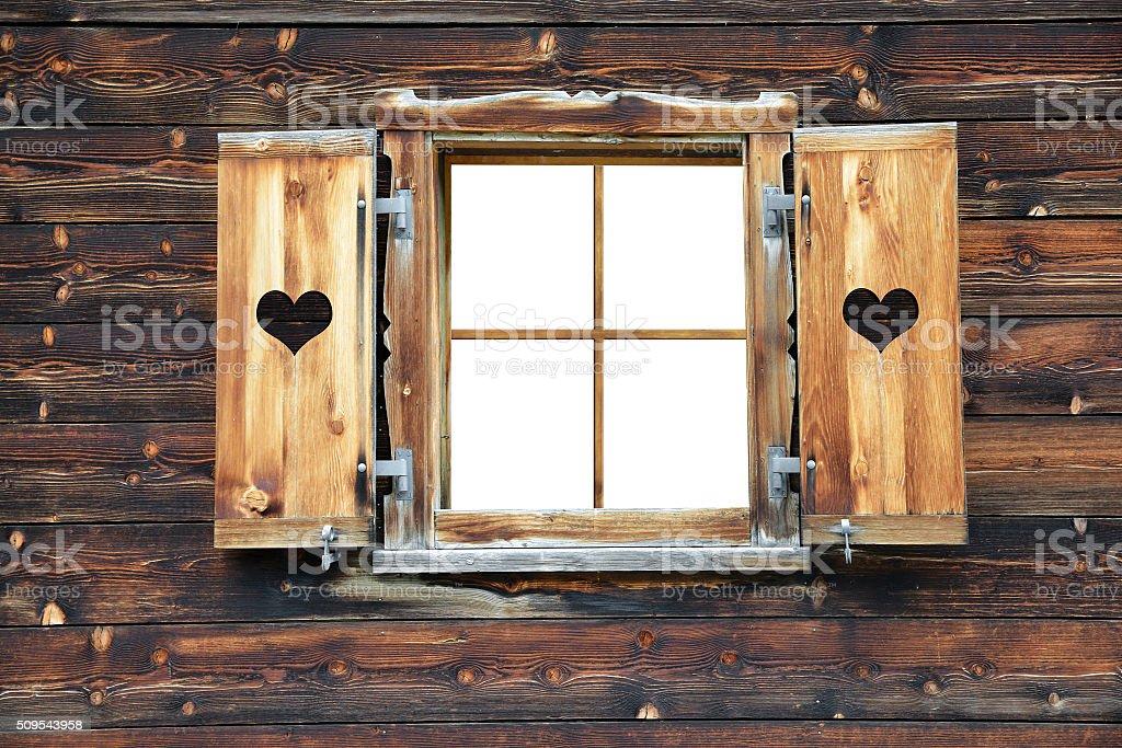 Open old wooden window stock photo