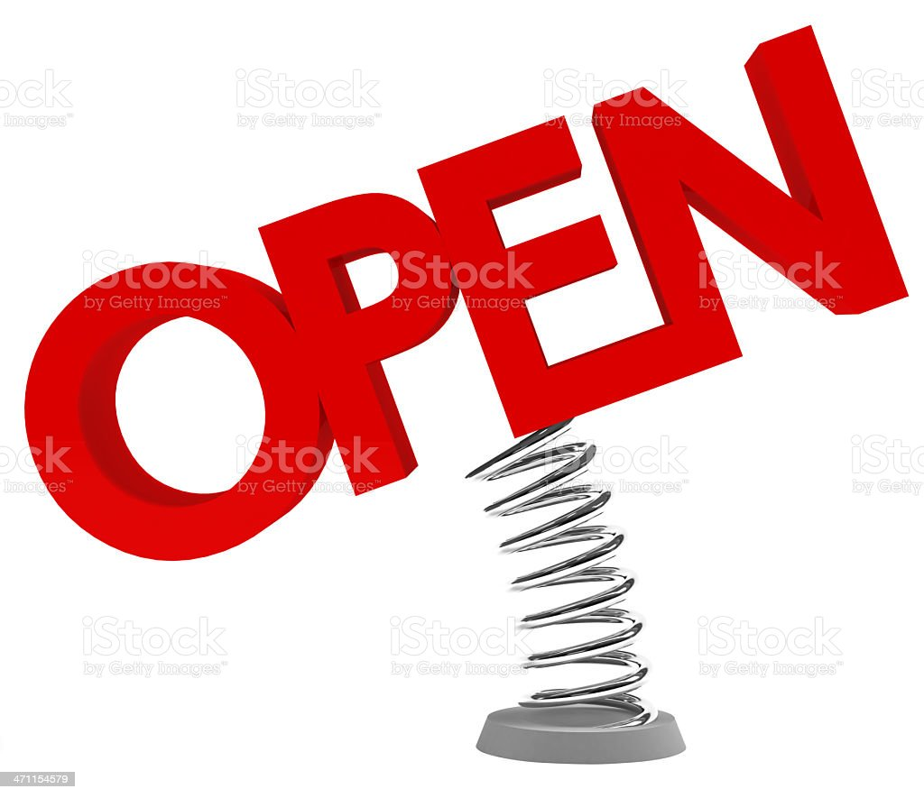 3D Open on metal bumper sign stock photo
