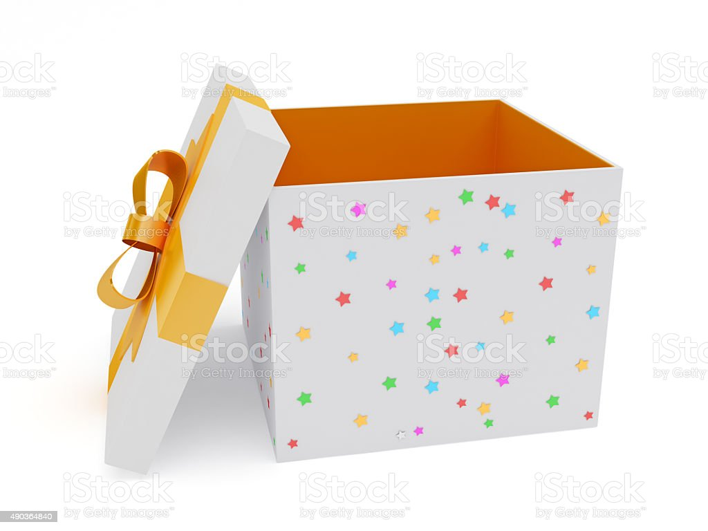 Open orange and white gift box stock photo