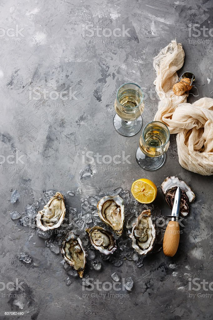 Open Oysters stock photo