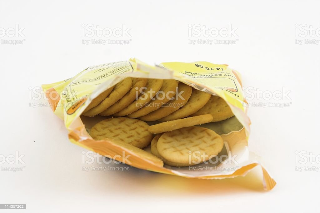 Open Packet Of Cheese Snack Biscuits royalty-free stock photo