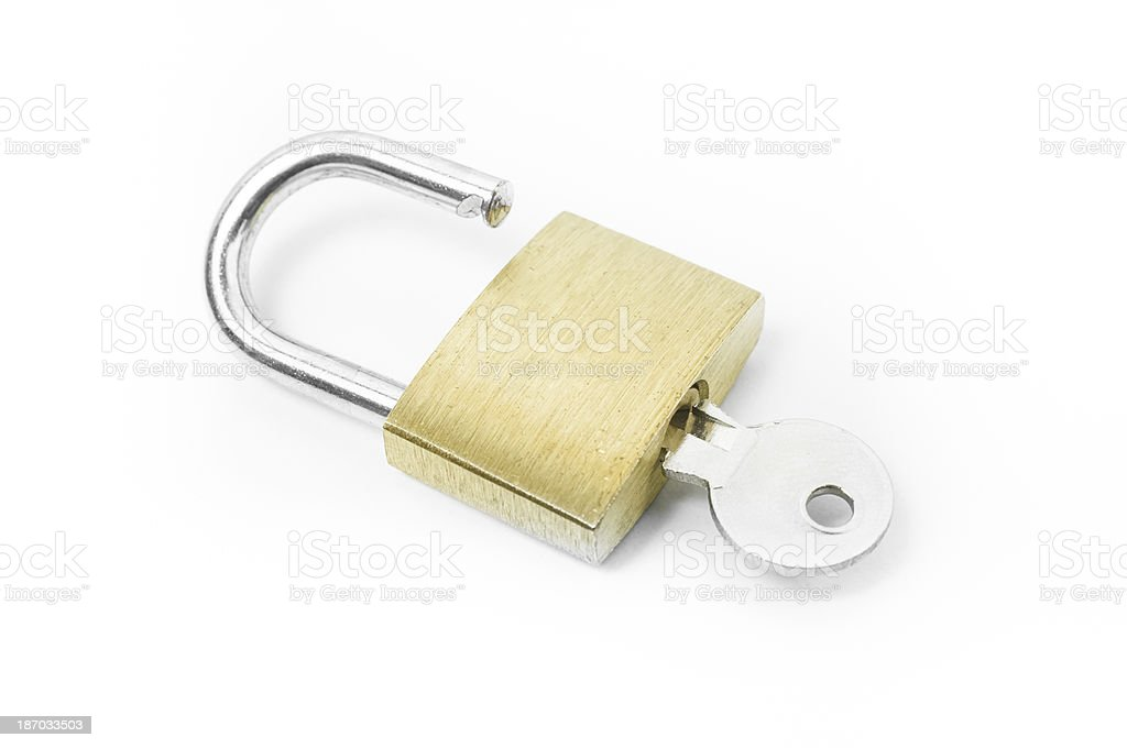 Open padlock on white background royalty-free stock photo