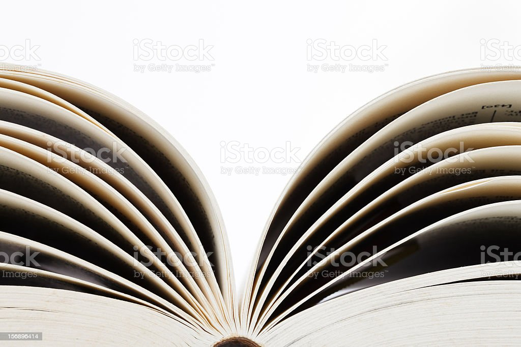 Open pages of blank book on white with copy space stock photo