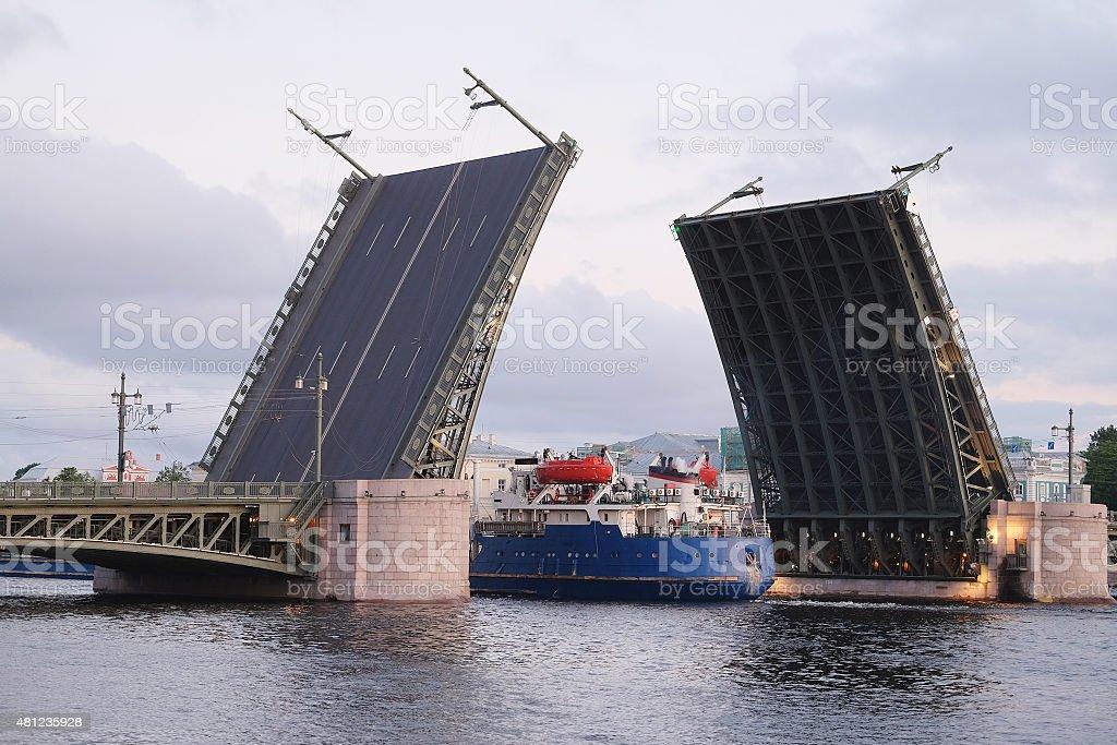 Open Palace bridge from the Neva river stock photo