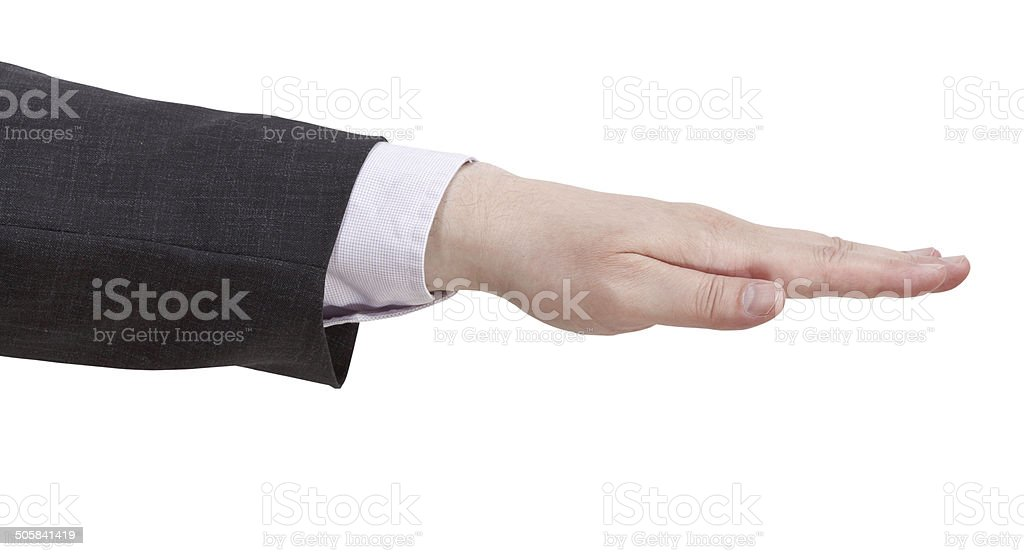open palm facing down - hand gesture stock photo
