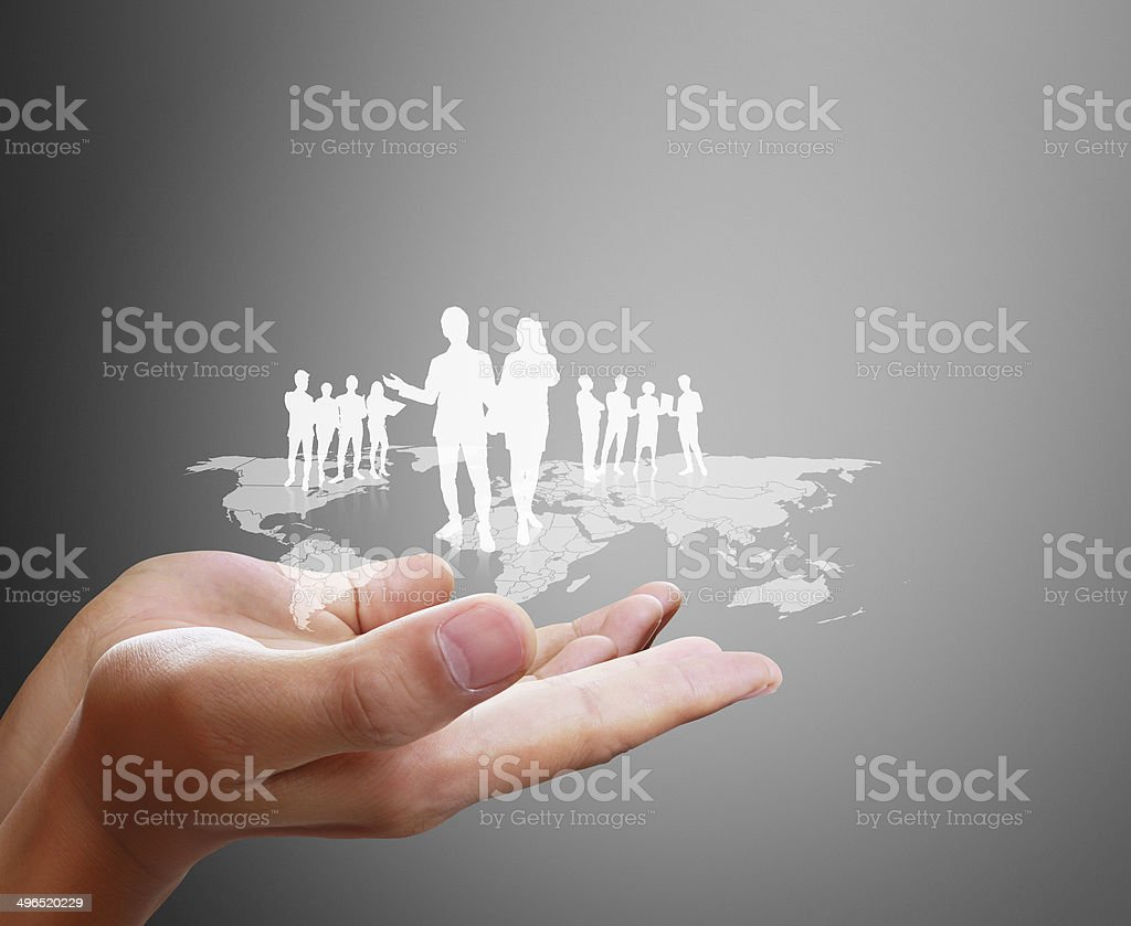 Open palm hand social network stock photo
