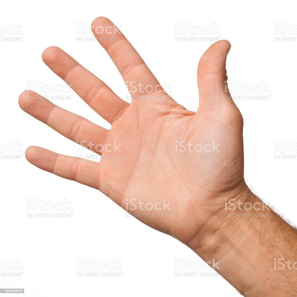 Open palm of a male hand on white background stock photo