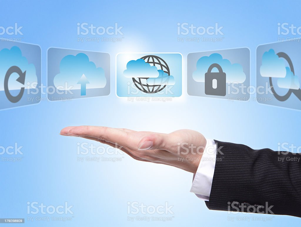 Open palm of businessman with digital cloud concept slides royalty-free stock photo