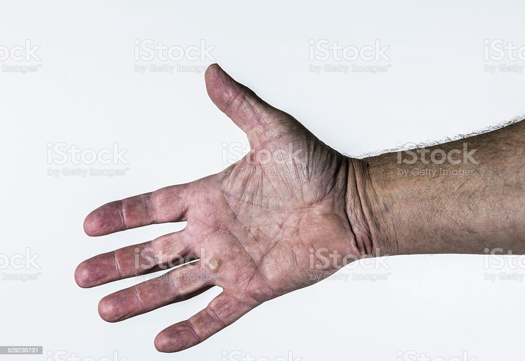 Open Palm Outstretched Senior Man Hand stock photo