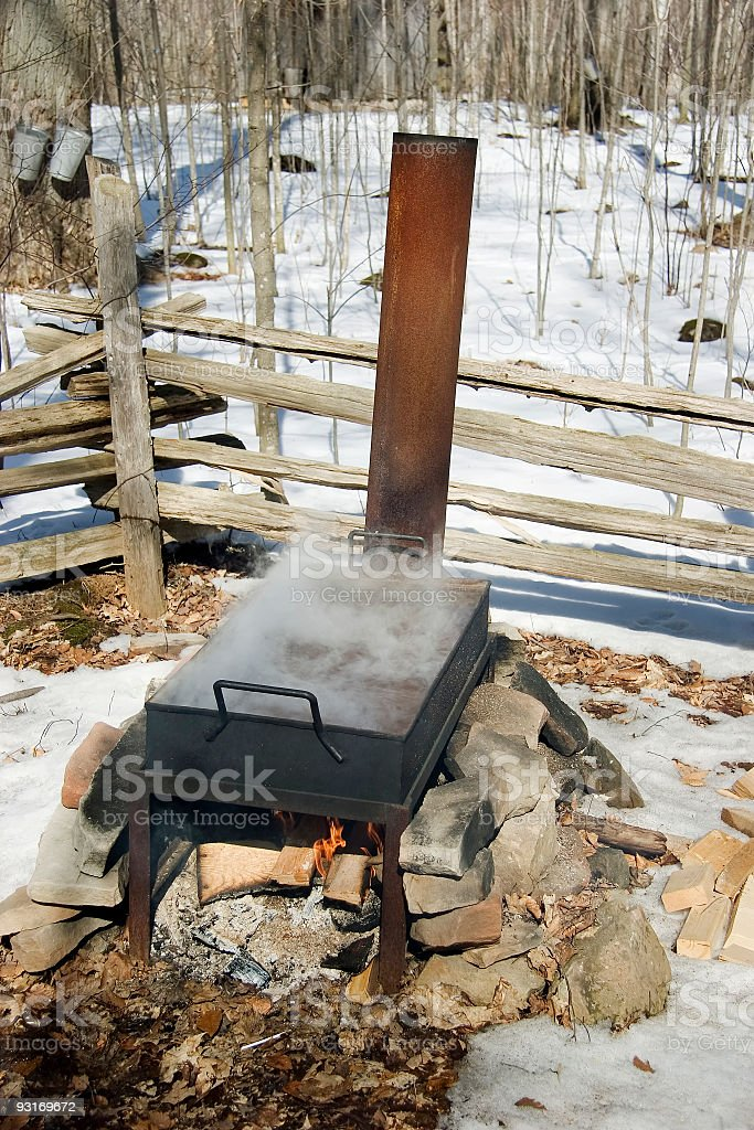 Open Pan Maple Syrup making stock photo