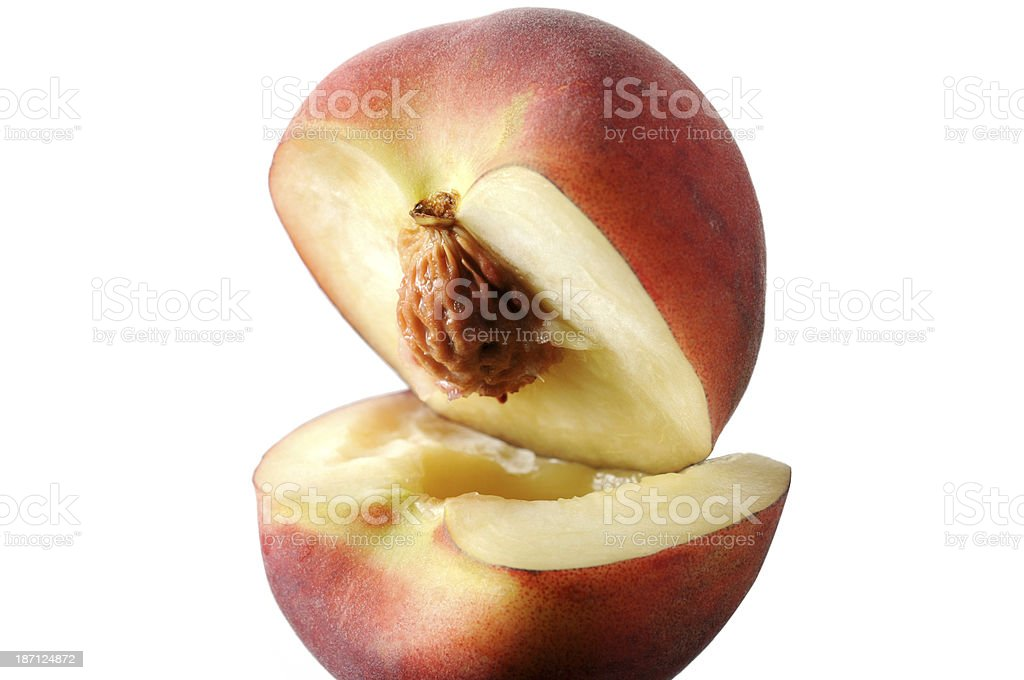Open Peach isolated on white background royalty-free stock photo
