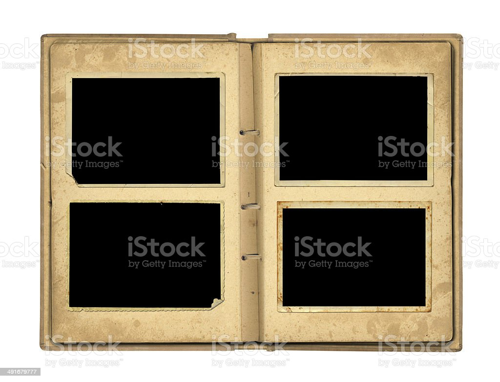 Open photoalbum with ribbon for photos on the isolated royalty-free stock photo