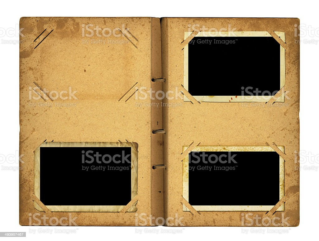 Open photoalbum with ribbon for photos royalty-free stock photo