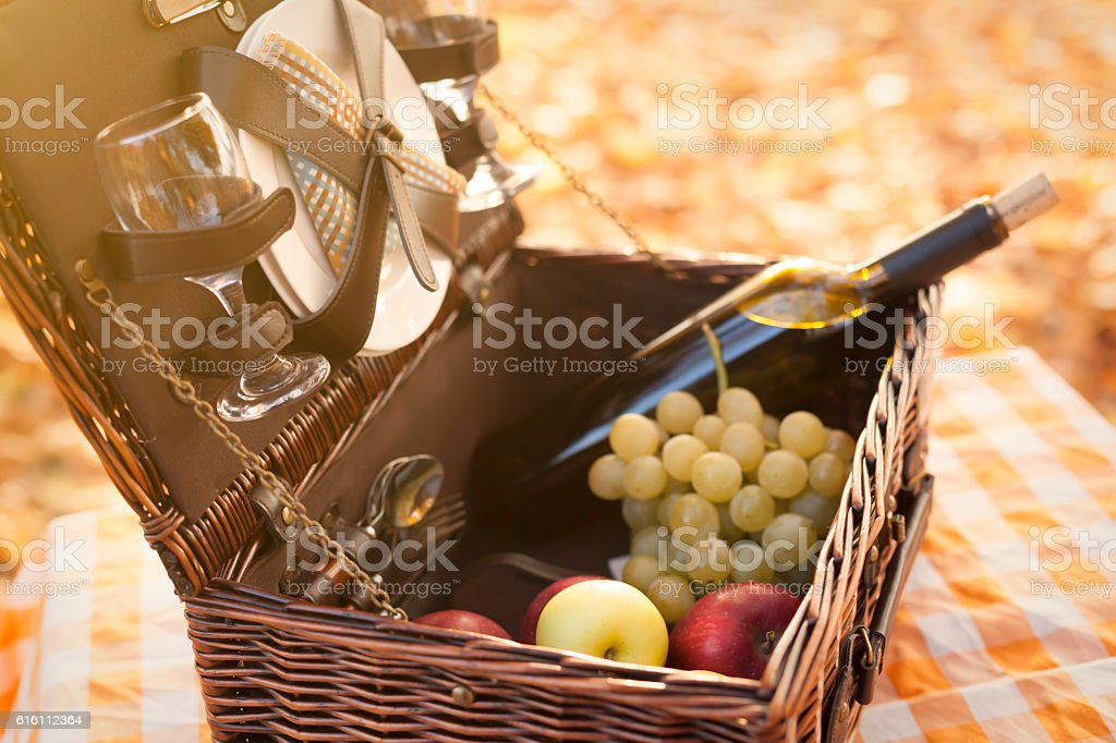 Open picnic basket stock photo