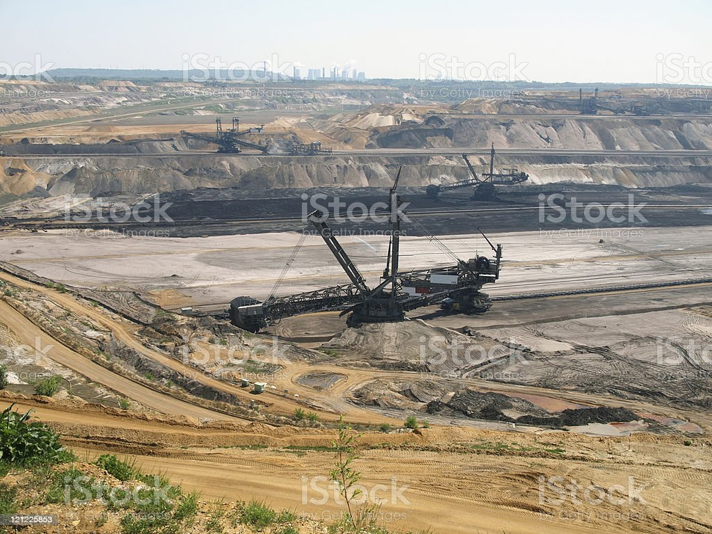 Open pit, brown coal mine stock photo