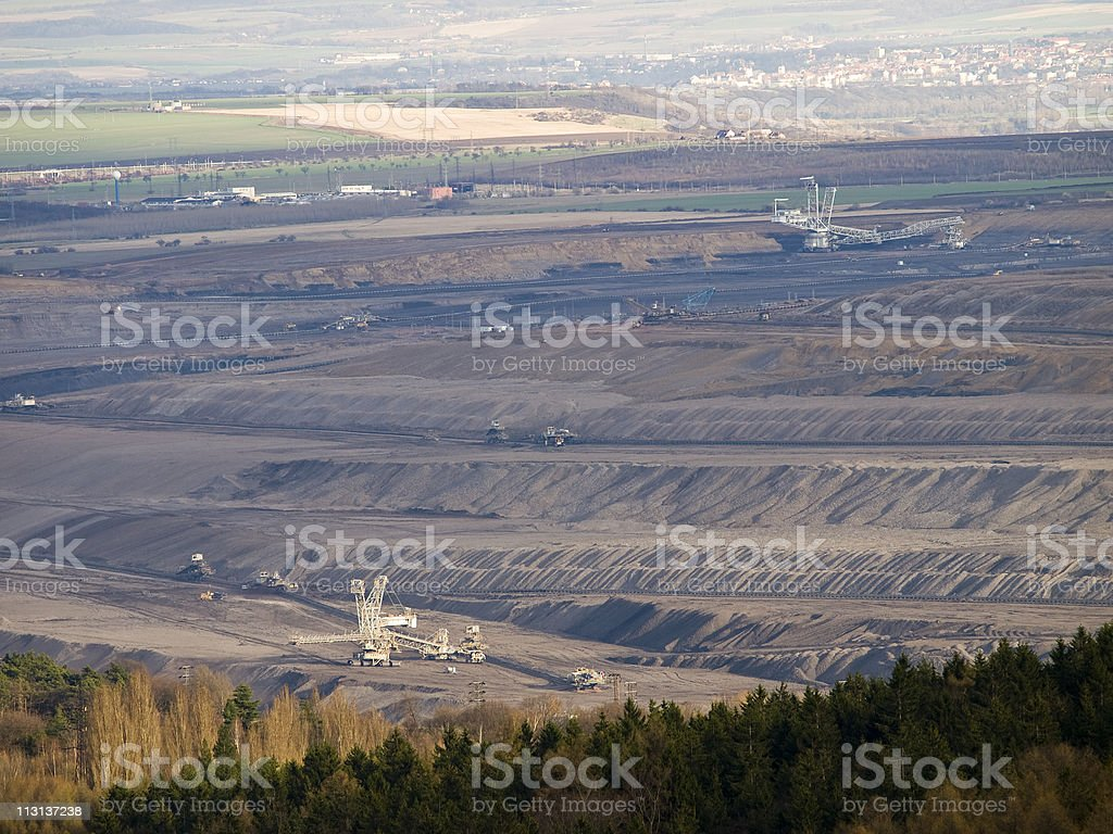 Open pit coal mining royalty-free stock photo