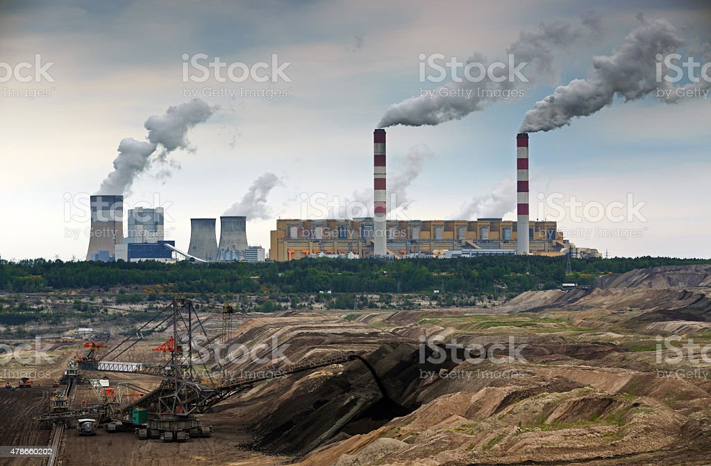 Open pit mine and power plant. stock photo