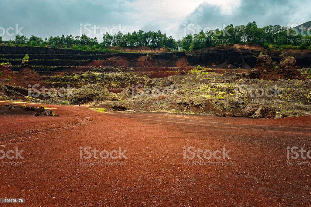 Open Pit Mine with red gravel stock photo