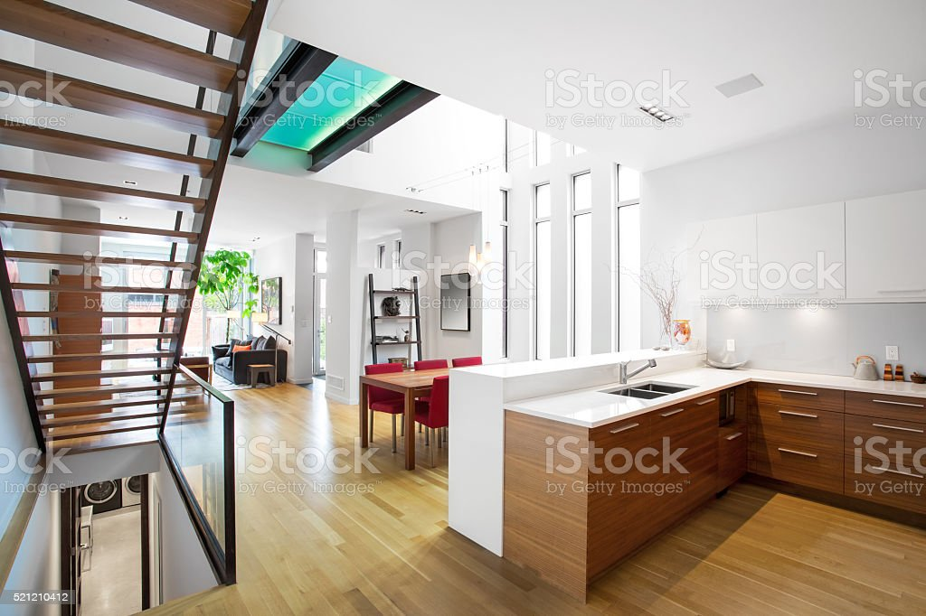 Open plan contemporary living space. stock photo