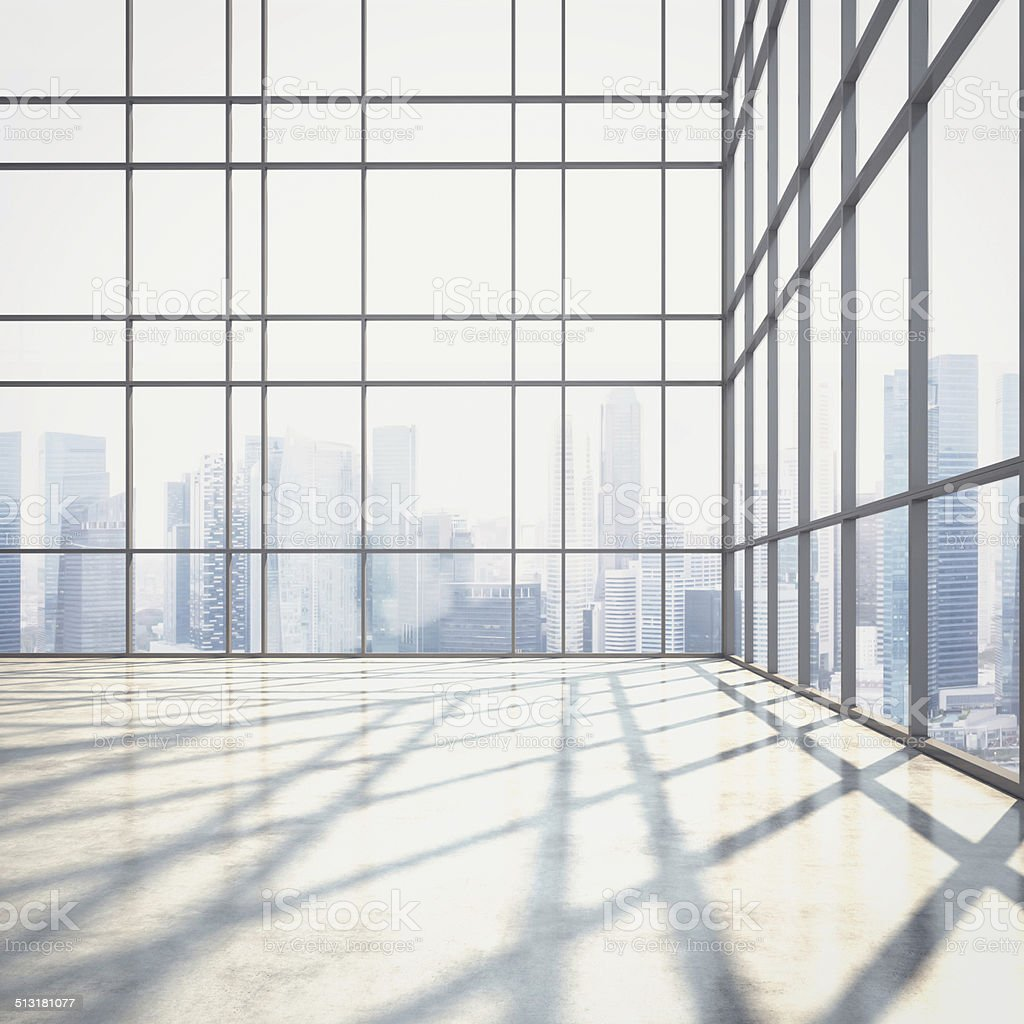 Open plan interior with large windows stock photo