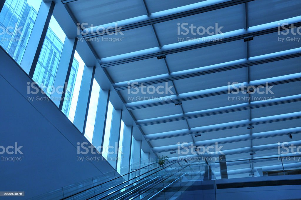 Open plan interior with windows stock photo