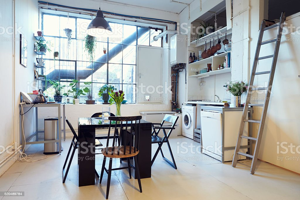 Open Plan Living Area In Modern Apartment Conversion stock photo