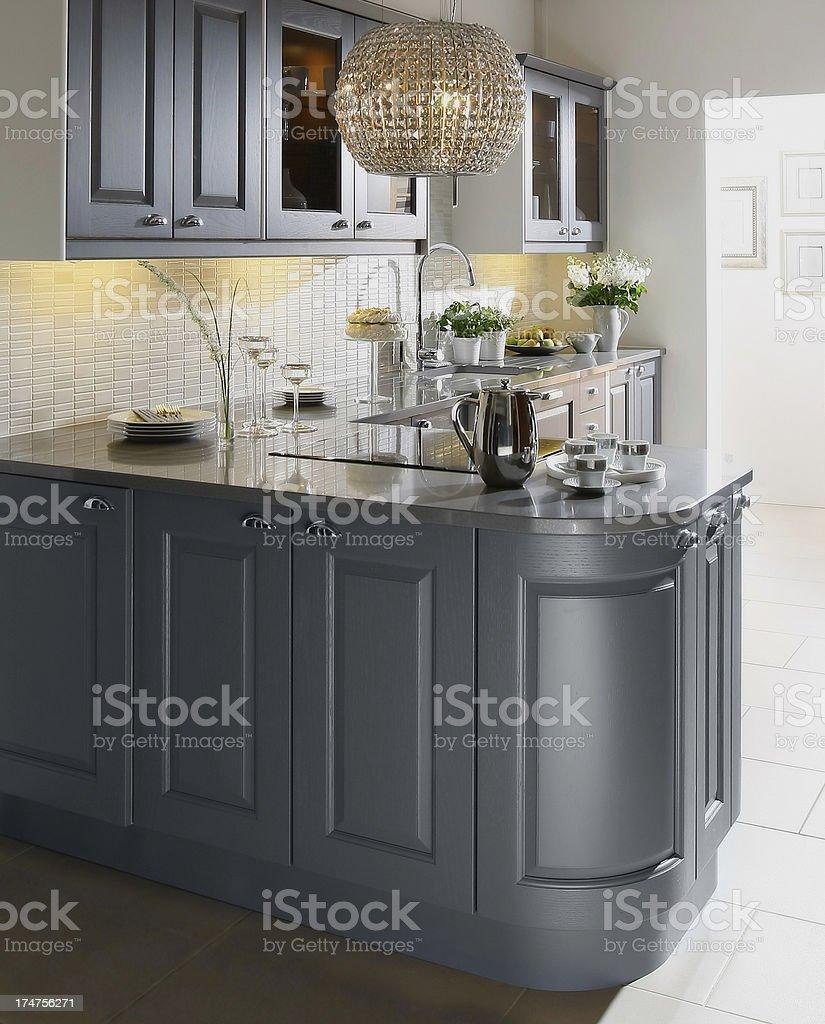 Open plan stylish luxury kitchen in apartement stock photo