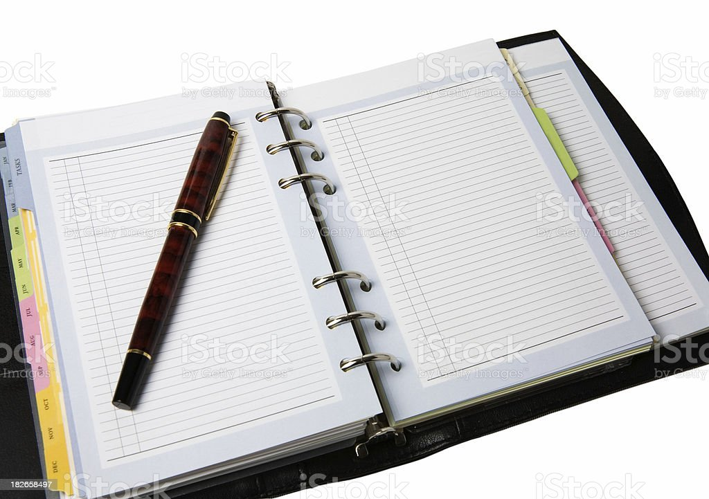 Open Planner with Pen stock photo