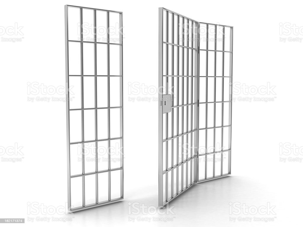 Open prison bars royalty-free stock photo