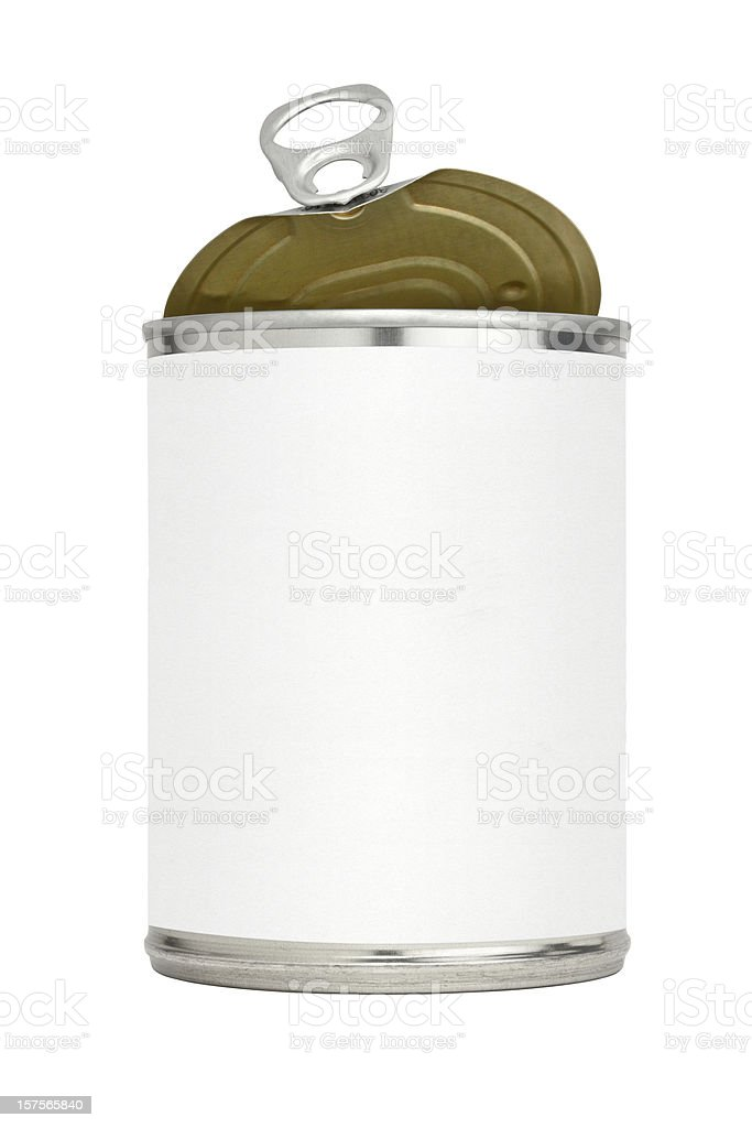 Open Pull Tab Metal Food Can With Blank Label stock photo
