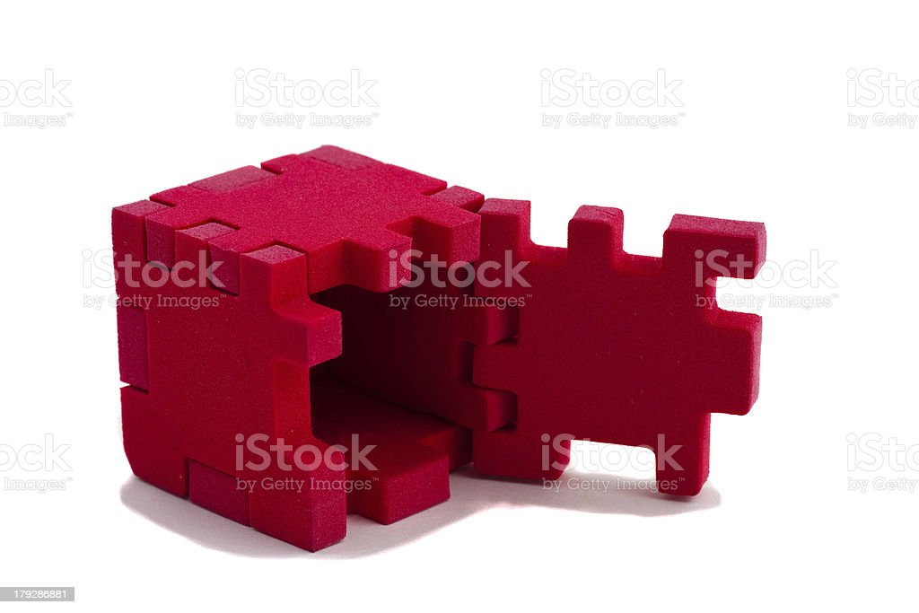 Open puzzle on white background royalty-free stock photo