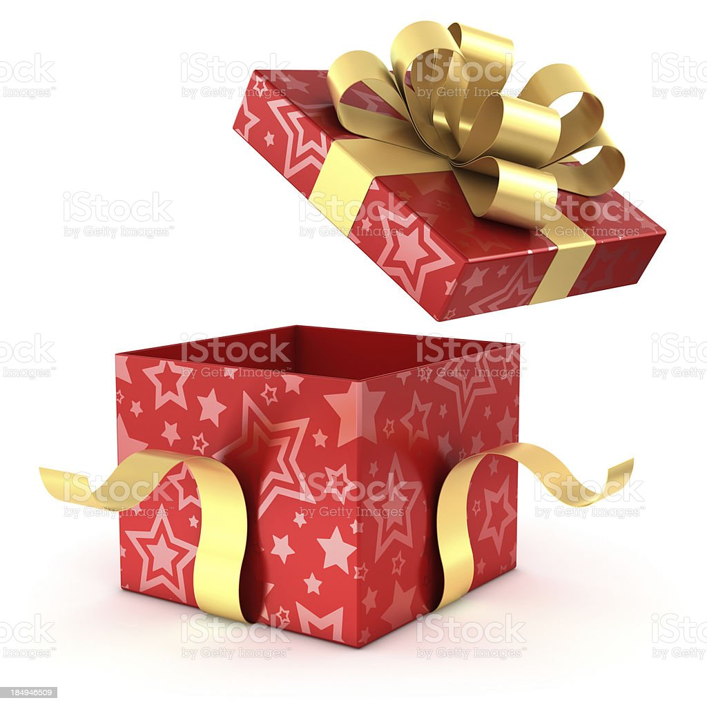 Open red and gold gift box with clipping path royalty-free stock photo