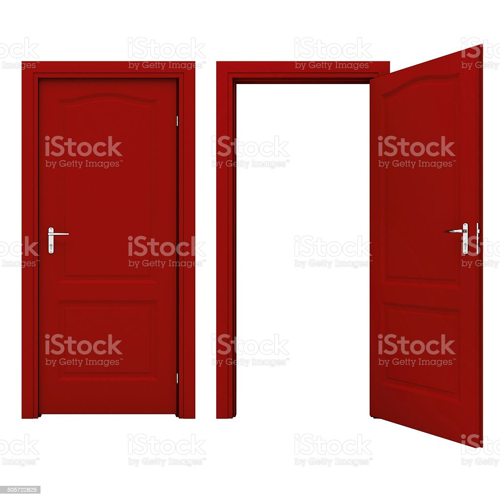 Open red door stock photo